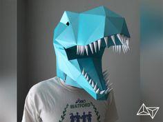 Electric Blue T-Rex  Mask pattern lets you choose your own color!