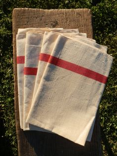 Four French Vintage Tea Towels Drying Up Cloths by GoshnPoche, $60.00