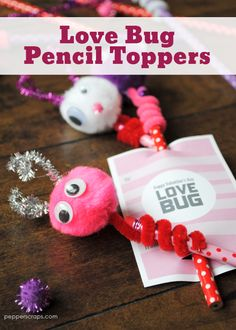 These adorable Love Bug Pencil Toppers are a fun and easy project for to make for themselves or as for their classmates for Valentine's Day or any day. day ideas for classmates Love Bug Pencil Toppers for Valentine's Day {FREE Printable} {Video} Valentine's Day Crafts For Kids, Valentine Crafts For Kids, Craft Projects For Kids, Fun Arts And Crafts, Holiday Crafts, Fun Crafts, Valentine Ideas, Craft Ideas, Valentinstag Party