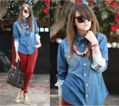 Denim Shirt with colored skinnies!!