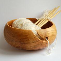 Cherry Wooden Bowl Yarn Bowl