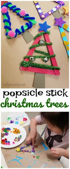 popsicle stick christmas tree craft for kids to make so cute using pipe cleaners