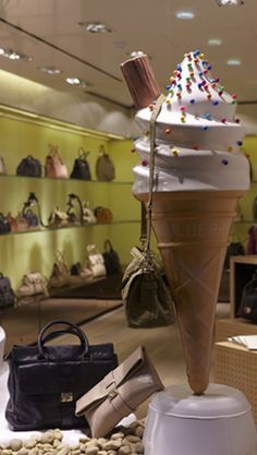 Mulberry SS12 collection displayed on the giant customised ice-cream