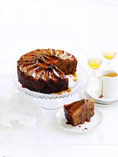 Ginger and pear cake with caramel and clotted cream...totally made a version of this and it was spectacular!
