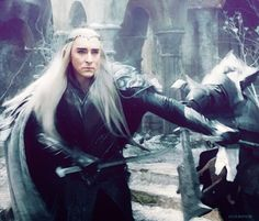 """Thranduil clearly favors an """"economical"""" fighting style .. drawing his opponents in before hacking them down, as opposed to Legolas' more acrobatic technique."""