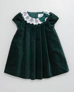 Florence Eiseman Lace-Collar Velvet Dress