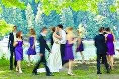 walking while capturing the bride n groom. Great shot!