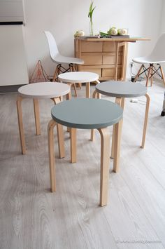 Here's my IKEA Frosta Stool makeover in Scandinavian colors, which make for perfect seating and extra tables when needed! Great for hosting & dinner parties