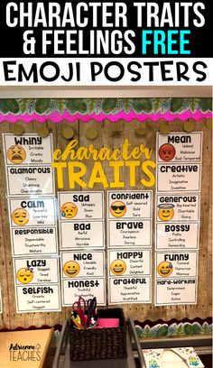 Help your students master character traits and feelings with these free emoji posters that include 3 synonyms for each vocabulary word. My third graders use these all the time to analyze characters. Character Traits Activities, Character Education, Physical Education, Social Emotional Learning, Social Skills, Social Work, Free Emoji, Feelings Chart, 2nd Grade Reading