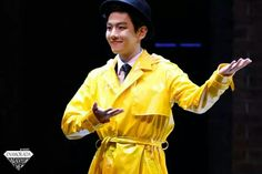 Looking handsome in a yellow trench coat xD