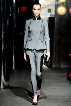 I'm in love with this peplum suit with leather panels! Sachin +Babi Fall 2013 Ready to Wear