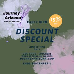 Save 15% if you book before September 1st for a future tour. Use promo code AUGFB21 when booking on our website at journeyarizona.com. Whether you are on vacation, have a business trip with a day to fill, or live in Phoenix, let us take you out for a day to the Arizona wine country or check out our awesome craft beers in the Verde Valley. Wine And Beer, Business Travel, Wine Country, Craft Beer, Fun Crafts, Phoenix, Arizona, Fill, September