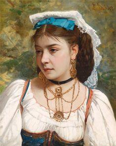Leonardo Gasser (b.1831)  —  Portrait of a Young Italian Girl (832×1039)