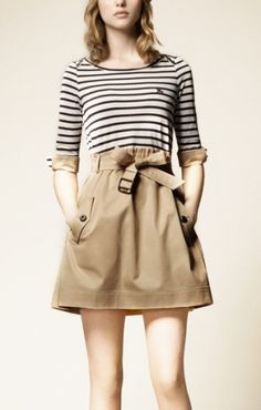 A line three quarter sleeve striped color block dress