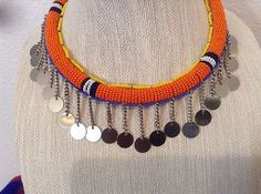 African-Arena Maasai Masai Handmade Beaded Orange Silver Coated Hanging Decoratives Pipe Choker Jewelry. Measures Approx. 20""