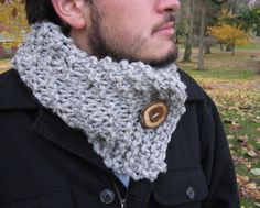 Men's Gray Grey Scarf Cowl by Gypseatree on Etsy
