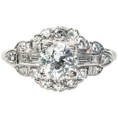 1.00 Carat Art Deco Diamond Engagement Ring