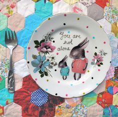 The Storybook Rabbit - Illustrated decals on Vintage plates.