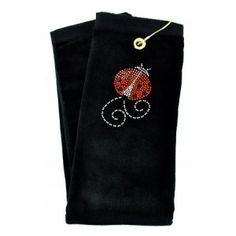Ladybug Black crystal terry cloth golf towel