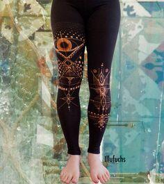 bleached Yoga/Goa Leggings by DerIllufuchs on Etsy