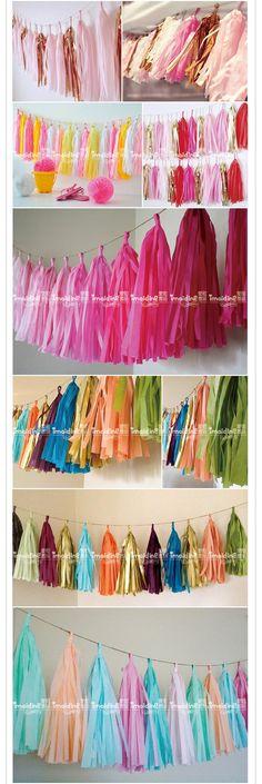 纸流苏丝带 5个/包 节日装饰帘 拉花 婚房派对布置拍照背景装饰-淘宝网