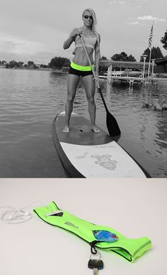 Paddleboard with the FlipBelt! Holds all the necessities so you can go hands free