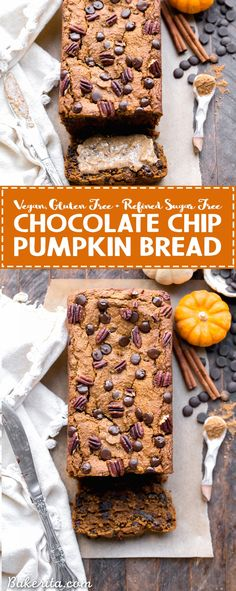 This Chocolate Chip Vegan Pumpkin Bread is quick and easy to make in one bowl! It's warm and flavorful with lots of pumpkin pie spice and full of gooey chocolate chips. This gluten-free, refined sugar-free, and vegan pumpkin bread makes a perfect breakfas Healthy Vegan Dessert, Cake Vegan, Vegan Dessert Recipes, Gluten Free Desserts, Baking Recipes, Bread Recipes, Vegan Treats, Gluten Free Chocolate, Homemade Chocolate