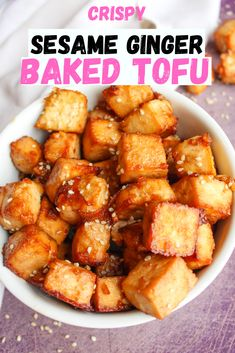 Crispy and delicious sesame ginger baked tofu. Great recipe to learn how to make for veganuary. Easy to make tofu that goes great in a stir fry or a buddha bowl. Easy to meal prep on a Sunday and have ready to go all week in the fridge. Great source of protein with no cholesterol. #vegan #tofu #mealprep  #veganuary #bakedtofu www.damntastyvegan.com