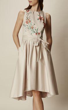 Karen Millen, EMBROIDERED FULL SKIRT DRESS Pale Pink