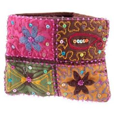 Boho embroidered coin purse
