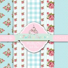Shabby Chic Soft blau - sofort-Download - Digital Collage Sheet - Shabby Chic Papier - Digital - florales Muster - Rosen