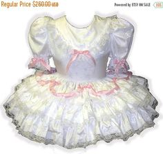 40% OFF SALE Helen Custom Fit WHITE Satin Pink Bows Adult Lg White Satin, White Lace, Petticoated Boys, Maid Uniform, Pink Bows, Hoop Skirt, Girls Dresses, Prom Dresses, Women's Fashion