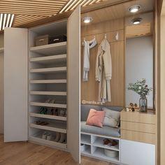 Este posibil ca imaginea să conţină: interior Home Entrance Decor, House Entrance, Home Decor, Flur Design, Hall Design, Hallway Designs, Closet Designs, Closet Bedroom, Bedroom Decor