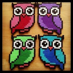 Colorful owls hama beads by tutluva