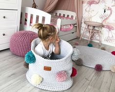 Check out our crochet toys selection for the very best in unique or custom, handmade pieces from our stuffed animals & plushies shops. Toy Basket, Basket Bag, Nursery Area Rug, Nursery Decor, Toy Storage, Storage Baskets, Knitted Ottoman, Crochet Organizer, Deco Nature