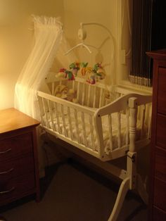 This cradle is similar to the heirloom cradle we used for our last baby and plan to use for the next . Maybe a new coat of paint to change up the look ?..