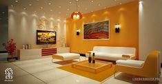 narancs falszín - nappali szoba lakberendezési ötletek, látványtervek