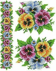 Beautiful pansies X-stitch chart Cross Stitch Bookmarks, Cross Stitch Rose, Cross Stitch Borders, Cross Stitch Flowers, Cross Stitch Designs, Cross Stitching, Cross Stitch Embroidery, Embroidery Patterns, Cross Stitch Patterns