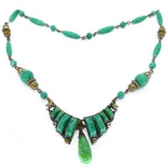 Vintage Art Deco Czech Front Opening Peking Glass Bead Panel Necklace | Clarice Jewellery | Vintage Jewellery | Vintage Costume Jewellery
