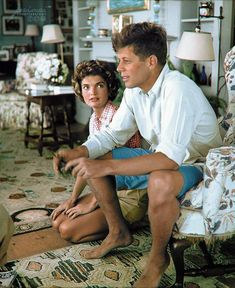 """Adoration of a President-to-Be"" - Newly engaged John F. Kennedy & Jacqueline Bouvier - Cape Cod, July 4th 1953"