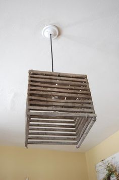 pendant light made from antique egg crate.  Follow all my creations on FACEBOOK.  Look for Cherry Blossoms & Chickens