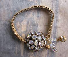Vintage Rhinestone Jewelry Repurposed Bracelet  by jryendesigns, $44.50