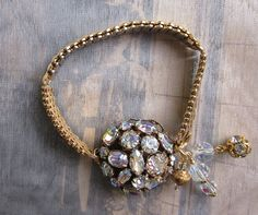 Vintage Rhinestone Jewelry Repurposed Bracelet  by jryendesigns, $44.50