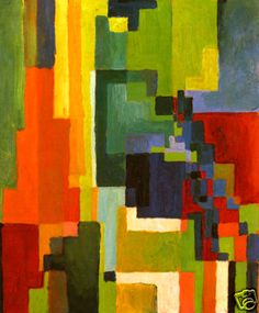 August Macke - Coloured Forms II Large Canvas Print