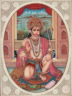 Hanuman Hindu Miniature Painting
