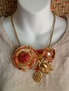 Sunset Gold Fabric Flower Statement Necklace in by CindyCaraway, $65.00
