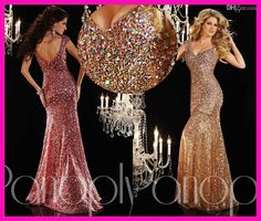 Luxury Gold Sequins Colorful Crystal Mermaid Floor Length Designer Women Pageant Evening Dresses E5009