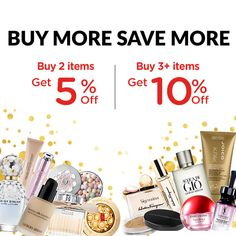 Buy more save more! Stock up on all your must-haves this week, because the savings won't last! Get 5% off when you buy two items, and 10% Off when you buy 3 items or more! Min. spend US$65, Offer ends 15 Apr 2019. Discount Perfume, Beauty Sale, Discount Beauty, Hair Care, Makeup, Stuff To Buy, Free, Make Up, Makeup Application
