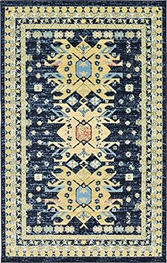 Add this Classic Traditional Geometric Persian Design Area to a room needing a touch of the standards. However, this could also work in a modern decorated space by acting as a contrast or focal point. #homedecor #rugs #blue #funkthishouse
