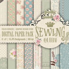 Vintage Digital Paper Tailor Paper Pack Shabby Chic Paper Sewing Patterns Printable Victorian Roses Backgrounds Sewing Clipart Cute Button